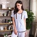 Pijamas de Punto de Algodón de Cuello Redondo de Las Mujeres Conjuntos de Pijamas de verano Polka Dot Salón Pijamas de Manga Corta camisa de Dormir Homewear Casual A5126