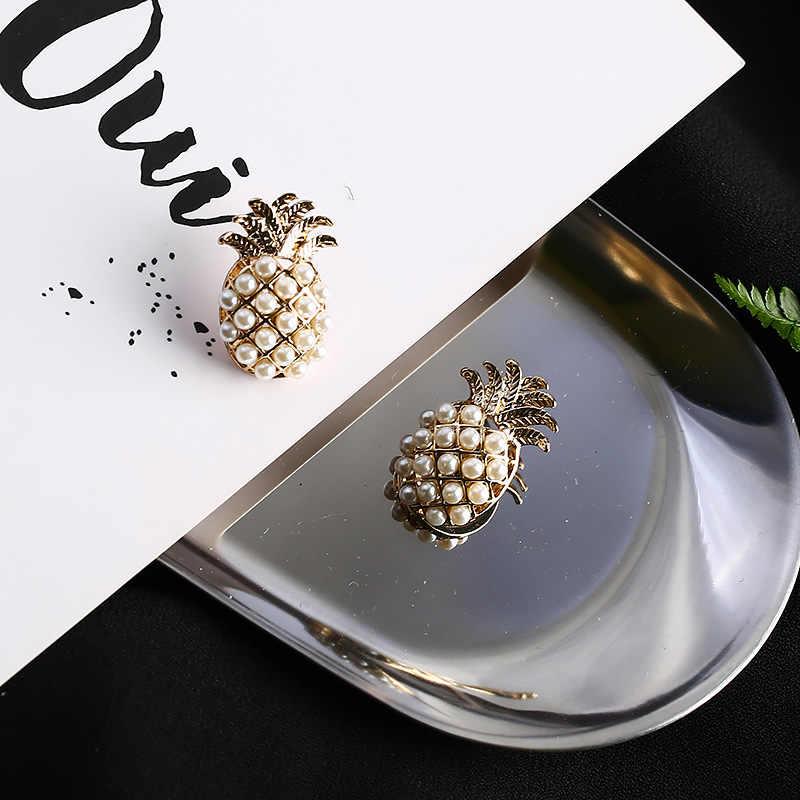 ヴィンテージパイナップル模造真珠のイヤリングエレガントな果物真珠のための女性の耳のリングパーティージュエリー