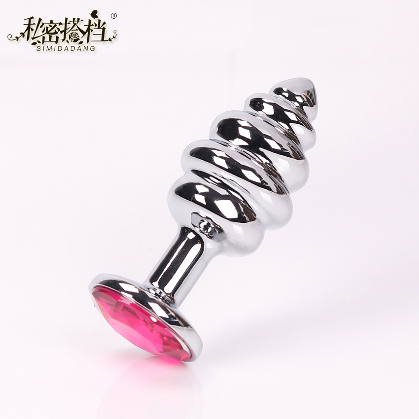 1PC Stainless Steel Butt Plug Prostate Massager Anal Plug Crystal Jewelry Spiral Anal Beads Anal Sex Toys