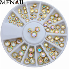 3mm, 4mm, 5mm Nail Art Wheel AB Warna Edge Pusingan Tips 3D Hiasan Colorful Wafer Manicure DIY Resin Roda Nail Nail ZP69