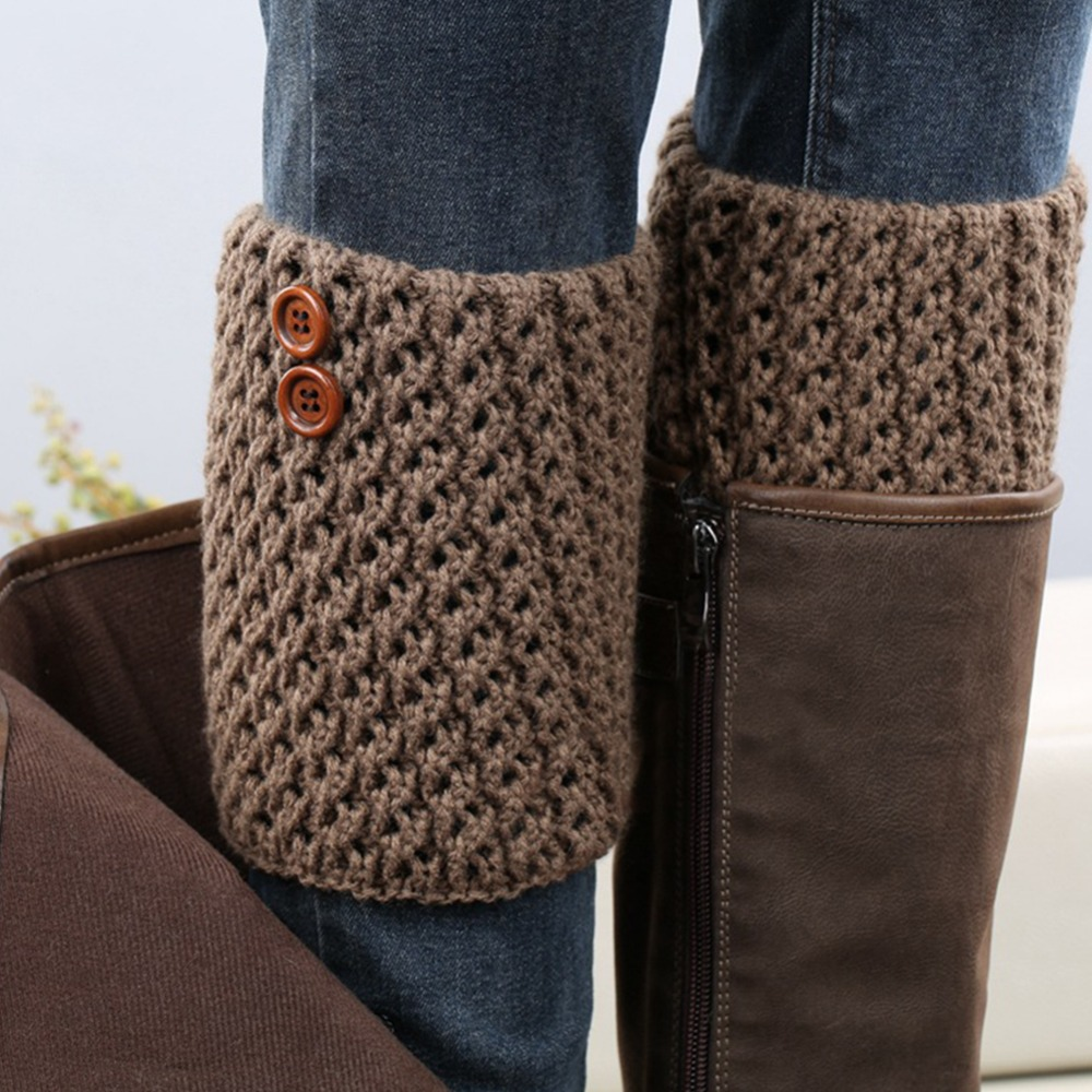 Stylish short style knitted autumn winter women boot topper socks stretch socks topper cuff elegant button knitted leg warmers