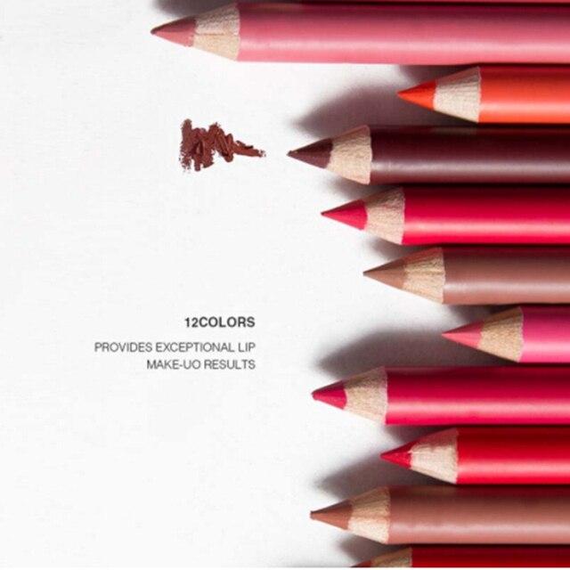 12 Colores/conjunto impermeable Super mate delineador lápiz duradera hacer cosméticos belleza labios trazador de líneas del labio