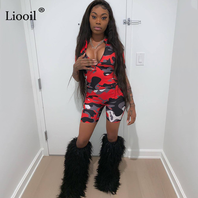 Liooil Red Camouflage Bodycon Playsuit 2019 Sexy One Piece Jumpsuits Women Club Wear Zip Up Romper Party Tight Jumpsuit Shorts 4