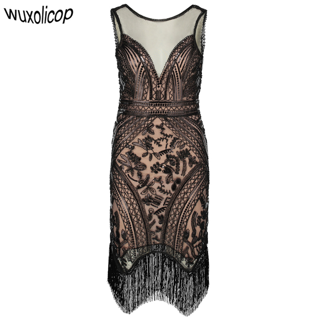 Retro 1920s Great Gatsby Charleston Dress V Neck Sleeveless Sequin Fringe Art Deco Women Flapper Dress Ganster Party Costumes