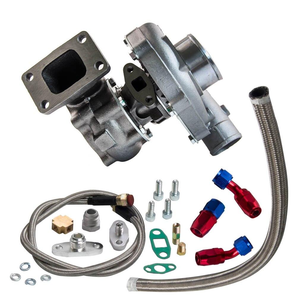 T3/t4 t04e. 57 a/r desempenho turbocompressor + óleo feed & retorno linha kit 300 + hp óleo de refrigeração turbo para 1.6 2.5l wastegate interno - 6