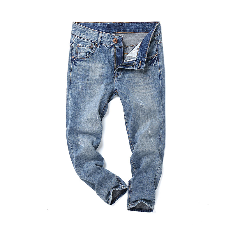 Fashion New Mens Jeans Casual Blue Denim Pencil Pants Male Slim Washed Retro Ankle-length Pants High Quality Mid Waist Zip Jeans