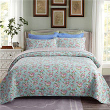 Luxury Pastoral Style Flowers Printing 100% Cotton Bedspread Bed Cover Sheet Linen Summer Quilt Blanket Pillowcases 3pcs
