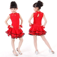 Children S Sleeveless Latin Gymnastics Lace Tap Dance Dress Ball Gown Leotard Skate Dresses Girls Performance