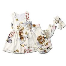 2019 New Big Little Sister Matching Sets Toddler Baby Girl Dress Romper Princess Floral Summer Clothes