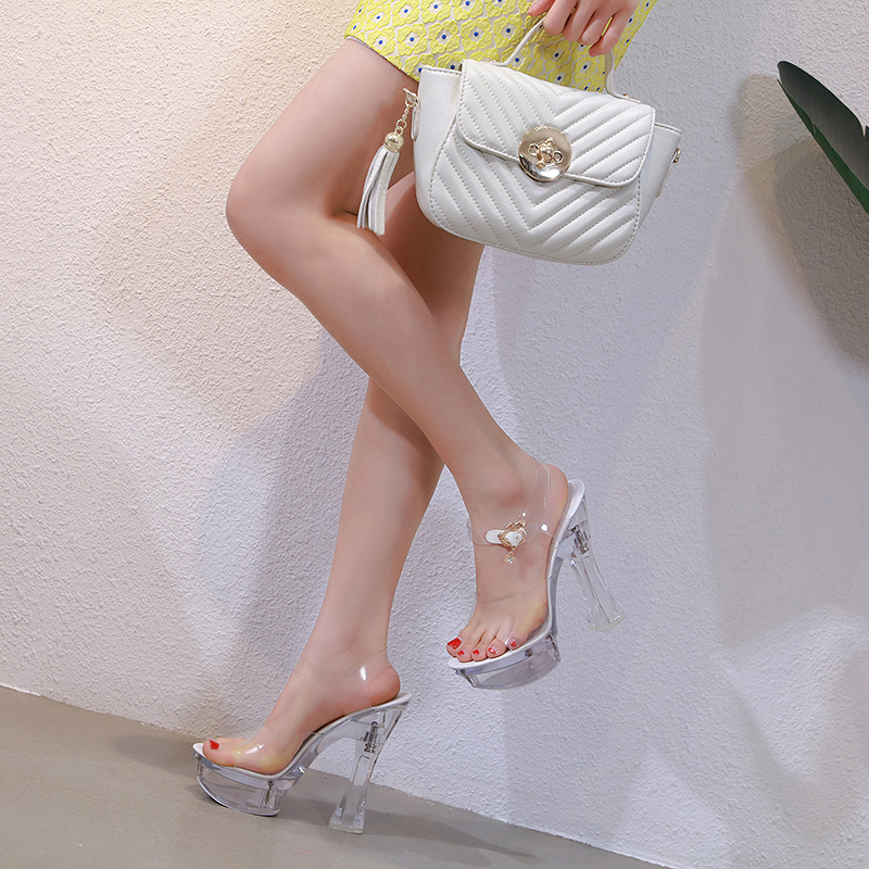 Steel Tube Dancing Female Shoes Crystal Transparent Shoes Women Summer High Heel 14.5CM Peep Toe Nightclub Sandals Wedding Shoes 2