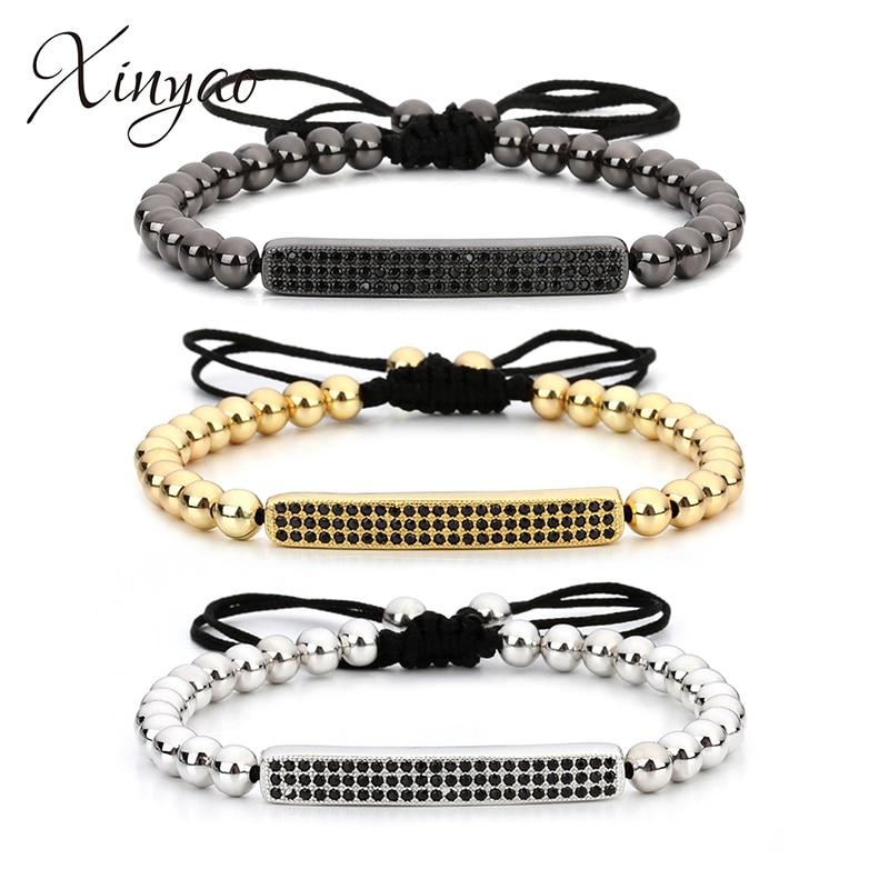 2017 New Anil Arjandas Micro Pave Black CZ Bracelet Men Women Round Gold/Rose Gold Color Handmade Macrame Bracelets with Beads