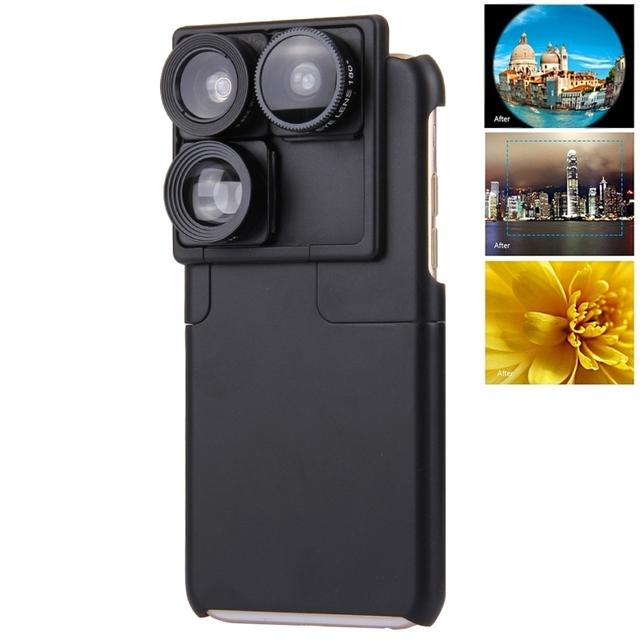 Para a apple iphone 6 s plus lente da câmera foto amante acessórios touring lente grande angular 4 in1 móvel caixa do telefone para iphone 6 caso