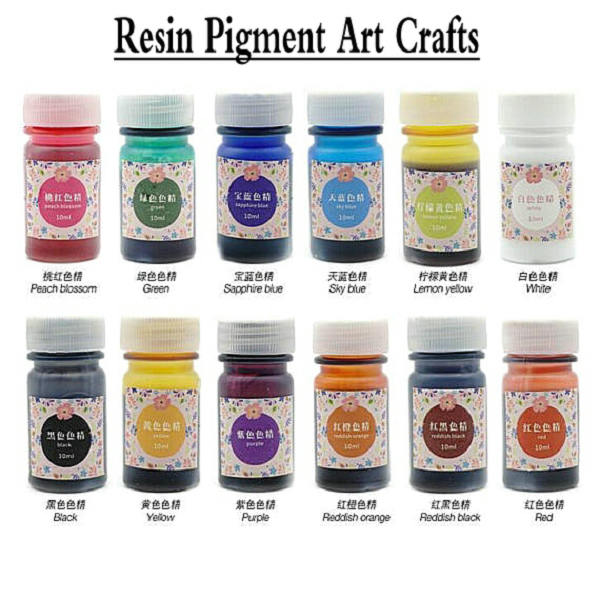 12 bottles Resin Pigment DIY Jewelry Crafts Epoxy Color UV Resin ...
