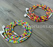 Urizons colorful cylinder beads wired earbud necklace earphones suitable for school students