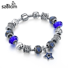 Szelam Blue Star Charm Bracelets & Bangles Silver Color Bracelet Women Crystal Jewellery Pulseras Mujer SBR160237