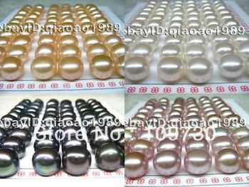ry00118 wholesale 100 pairs 9mm color freshwater pearl earring studs