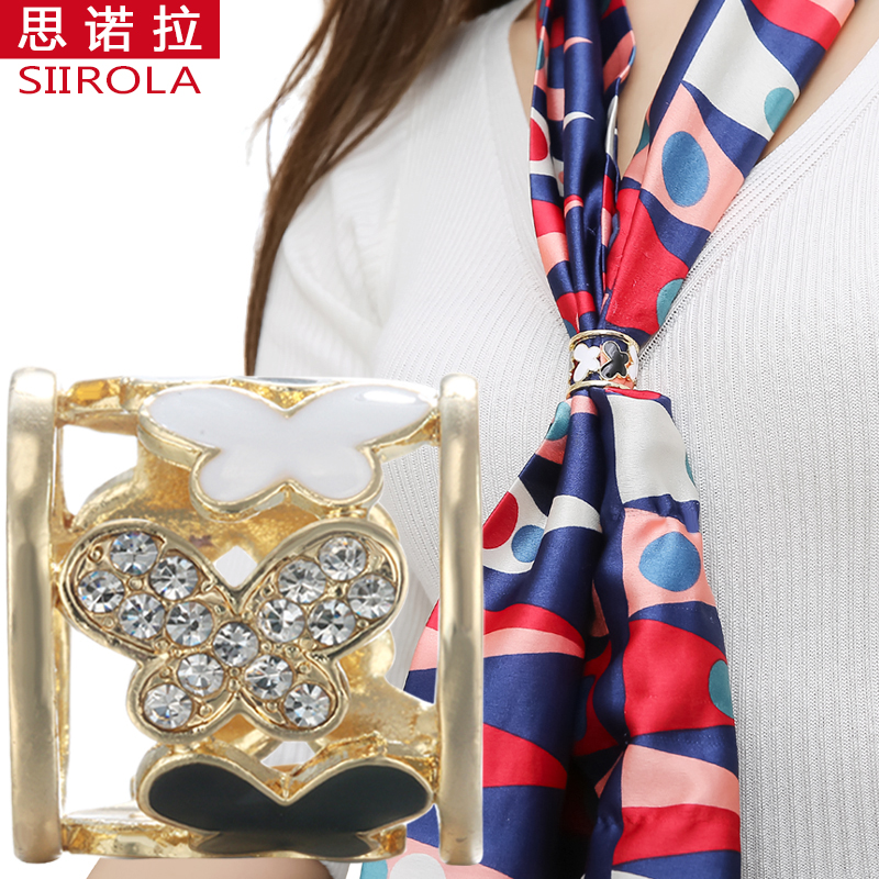 Elegant Vogue Silver Gold-color Women Brooch Jewelry Crystal Black White Enamel Butterfly Hijab Shawl Scarf Scarve Buckle Clips