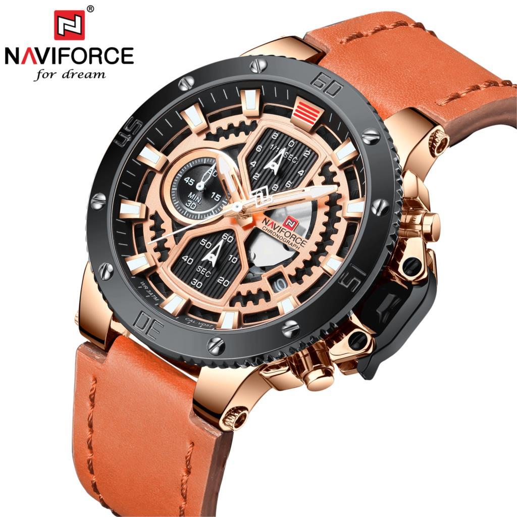 NAVIFORCE Watch Men Fashion Sport Quartz Clock Leather Mens Watches Top Brand Luxury Gold Waterproof Business Relogio Masculino analog watch