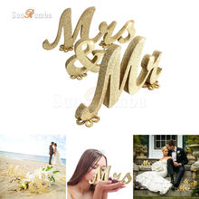 Mr & Mrs Golden Color Wood Sign Wedding Decor Festive Event Party Supplies Mariage Table Decorations Photo Booth