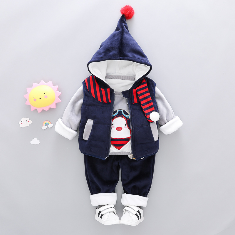 3PCS Baby Girl Boys Clothes Winter Set For Toddler Cartoon Kids Casual Hooded Velvet Autumn Spring Suits Clothing 1 2 3 4 Years недорого