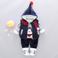3PCS Baby Girl Boys Clothes Winter Set For Toddler Cartoon Kids Casual Hooded Velvet Autumn Spring Suits Clothing 1 2 3 4 Years