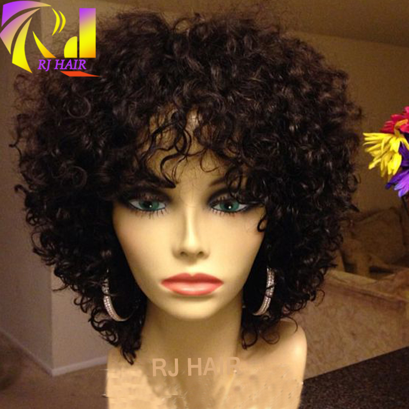 For Black Women Short Curly Human Hair Wig With Bangs 100 Virgin
