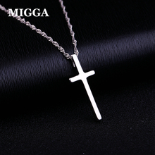 MIGGA Elegant Glossy Cross Pendant Necklace S925 Sterling Silver Women Clavicle Chain Gift Jewelry(China)