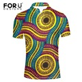 FORUDESIGNS Men Polo Shirts African Print Short Sleeve Cool Mercerized Cotton Slim Fit Casual Business Men Shirts Luxury Brand