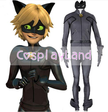 Miraculous Ladybug Adrien Cosplay Costume Halloween Costumes Cosplay Cat Noir Costumes Jumpsuit Eye Mask for Adult Women