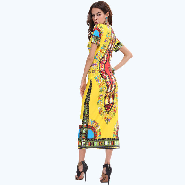 Free shipping Women retro geometric print dress with short sleeves Fashion Thailand Indonesia style 38 DSS