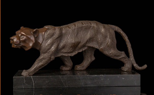 JP S1151 Art Deco Sculpture King Of Jungle Tiger Abtract Bronze Statue