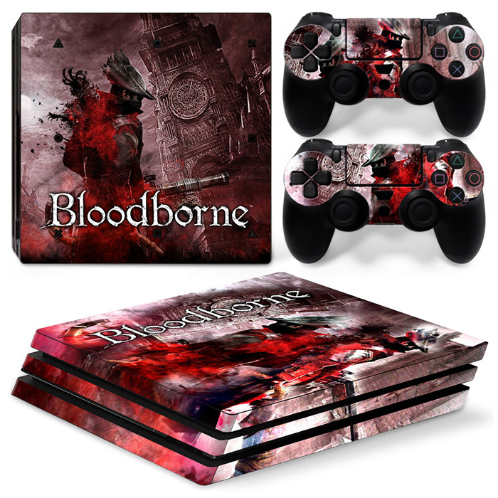 blood borne vinyl decal skins game sticker for ps4 pro console and 2 controllers protector #TN-P4Pro-1118