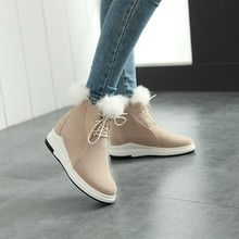 SALCXOI ankle boots for women winter boots women fashion ladies snow boots lace up shoes height increasing feather female &959