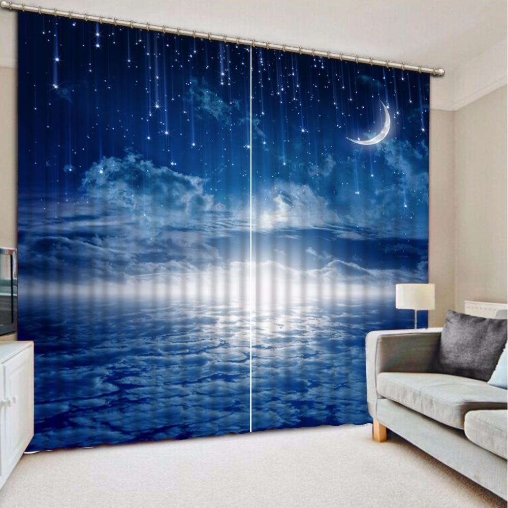 Пользовательские Шторы плотные Шторы ткани, голубое небо Moon метеорный поток Шторы s для Спальня Шторы для Ванная комната Кухня