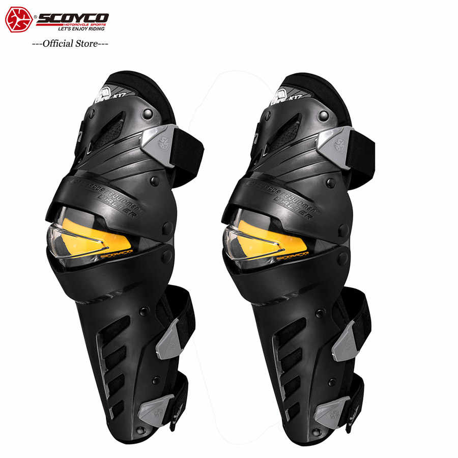 SCOYCO Motorcycle Knee 2 PCS Off-Road PC Shell Protection CE Certificated Locomotive Shock-proof Knee Protector Protective Gear