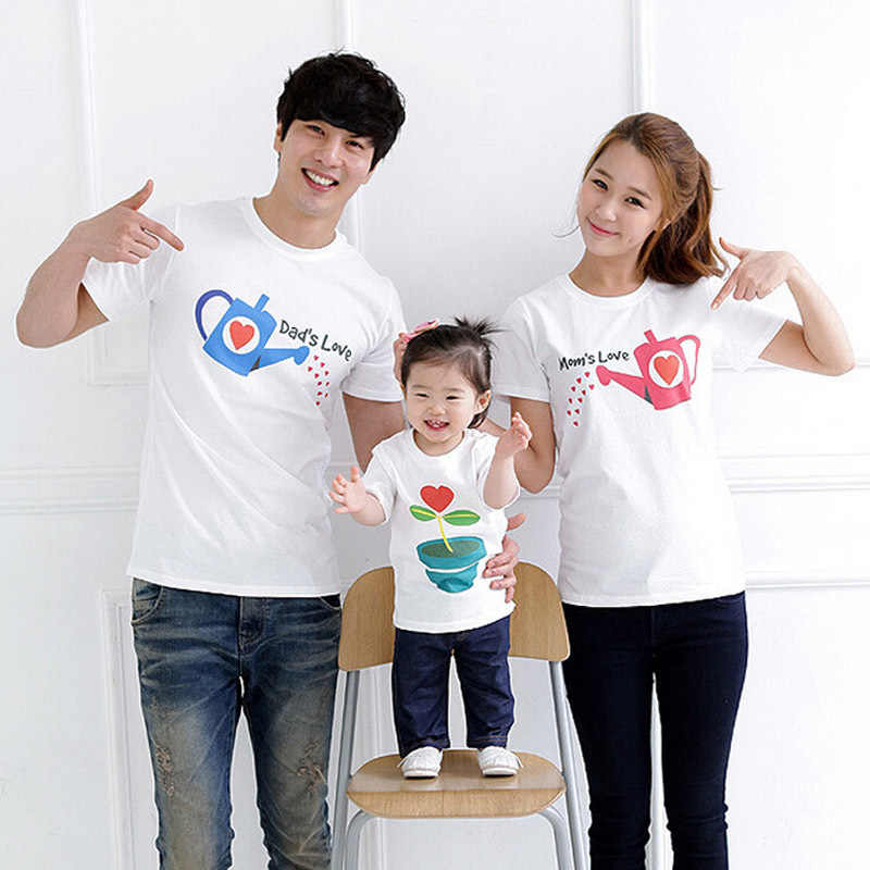 Family Matching Shirts Cotton Character Short-Sleeve T-Shirts  Mother Daughter Father Son Clothes Family Matching Clothing