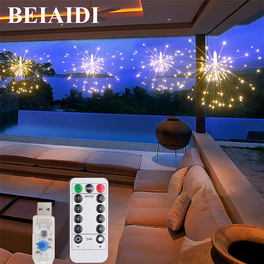 Diy Mode Us 14 98 30 Off Beiaidi 8 Mode Diy Starburst Copper Fairy String Light Remote Usb Battery Powered Fireworks Garden Christmas Party Fairy Light In
