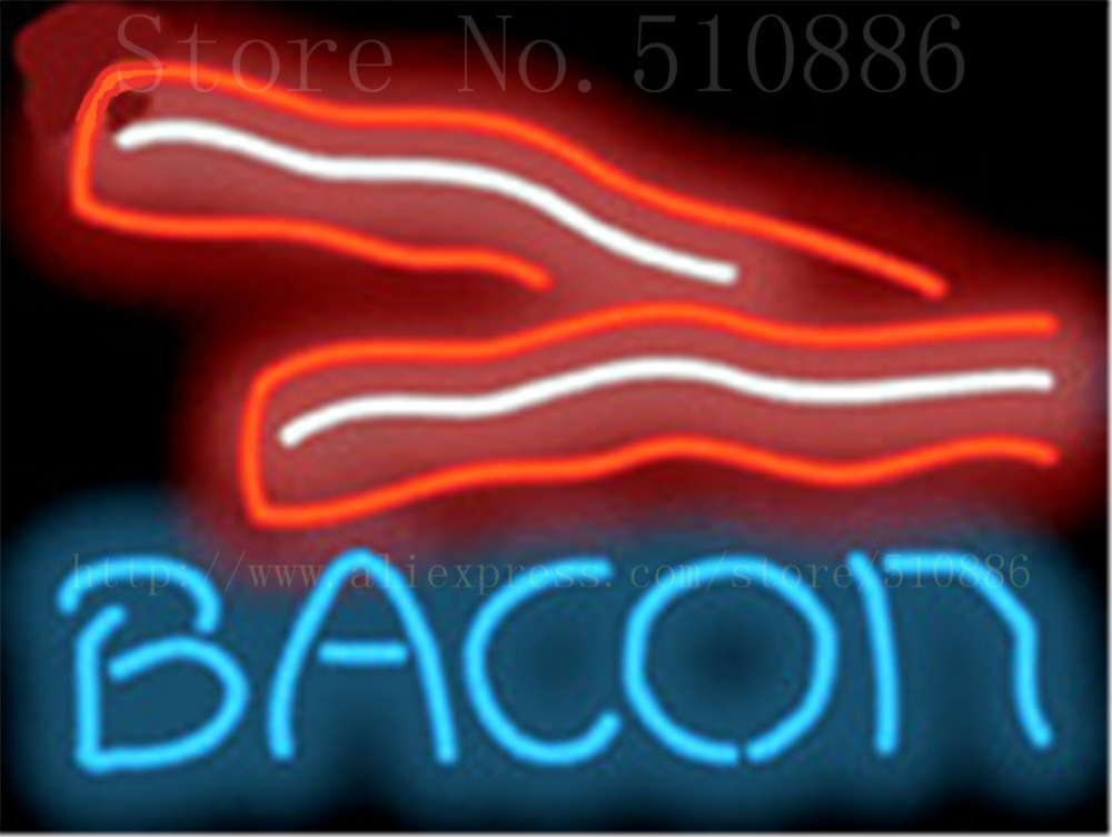 Bacon Neon Sign Handcrafted Light Bar Beer Pub Club Signs Shop Store Business Signboard Breakfast Meat Diet Food 17