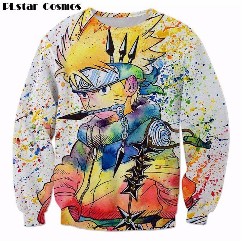PLstar Cosmos Regenbogen Farbe Naruto 3D Sweatshirt Herren Ninja Anime Pullover Harajuku Hip Hop Oberbekleidung Galaxy Sweatshirts tops
