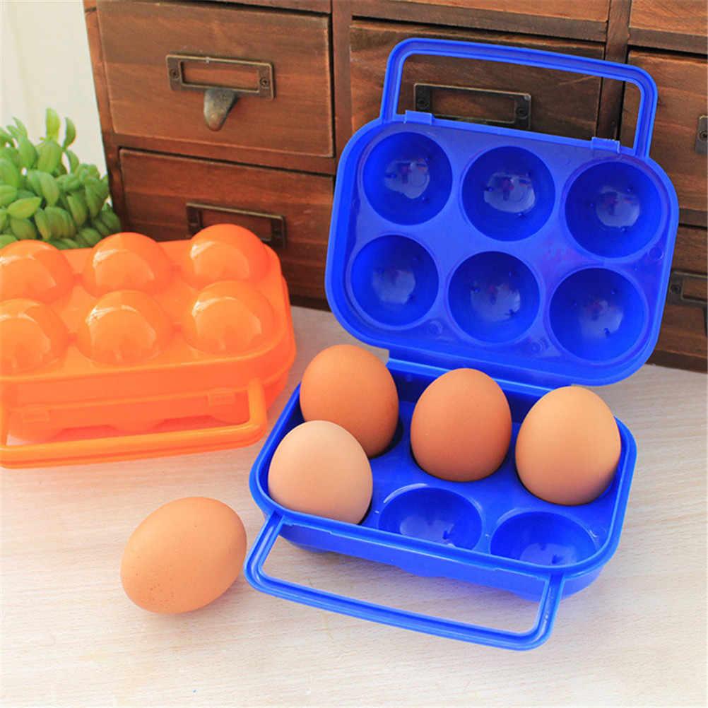 2/6 ไข่แบบพกพากล่องไข่ผู้ถือไข่ครัวเครื่องมือพับพลาสติกกันกระแทกกลางแจ้งเดินป่าที่ตั้งแคมป์