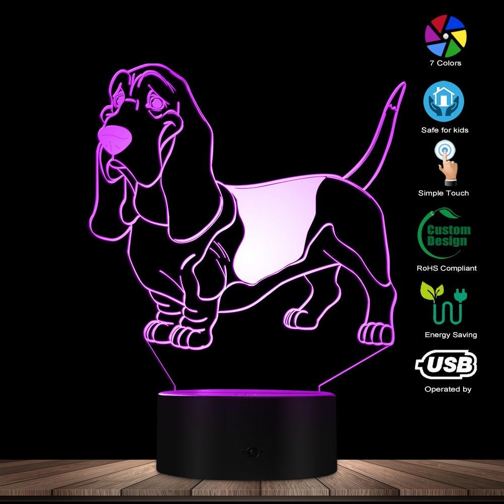 Basset Hound Mood Lighting 3D Optical Illusion Light USB Modern Night Lamp Dog Animal Glowing LED Light Home Decor Pug Desk Lamp