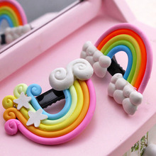 Cute cartoon stereoscopic rainbow clouds ls while a word clip hairpin children