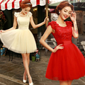2017 lace bridesmaid dresses short fit young girl junior party wedding dress color red champagne black lace up off the shoulder