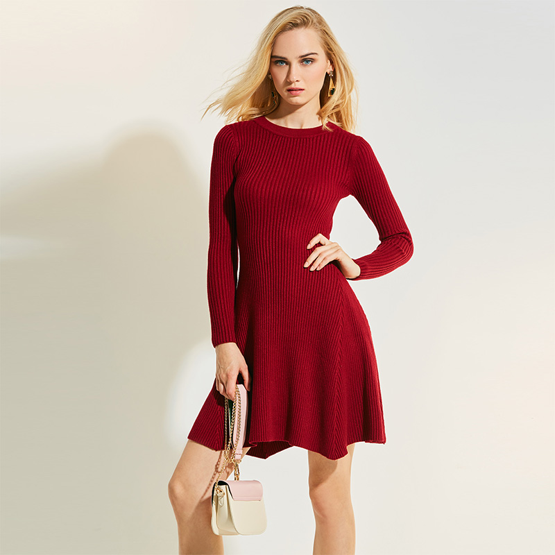 Bohoartist A-line Sweater Dress Women Round Neck Knee-Length Pullover Solid Long Sleeve Red Dress Girls Knitted Fashion Plain женское платье red long dress a line lantern sleeve 2015 lyd0352