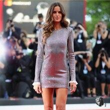 Izabel Goulart Roma новейшее зимнее роскошное Серебряное платье для женщин с рукавами-лепестками и открытой спиной, сексуальное мини-платье