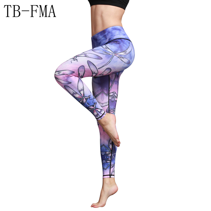 Colorful Yoga pants Women Print Sportswear Yoga Pants Elastic Compression Tights Fitness Gym Running pants Legging Gym Color