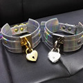 Chic Women Girl 100% Handcrafted Holographic Choker Lockable Gold Lock Key Padlock Collar Silver Laser Necklace