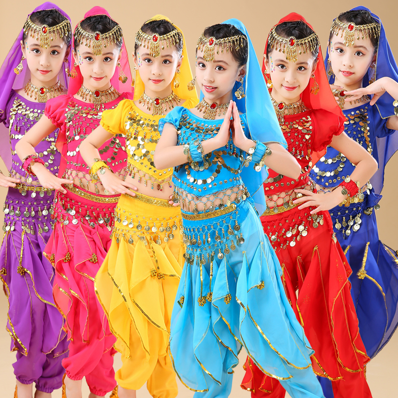 Child Indian Dancing Sets Girl's Performance Clothing Dress For Kids Belly Dance 6 Color Egypt Dance Costumes Bollywood Clothes