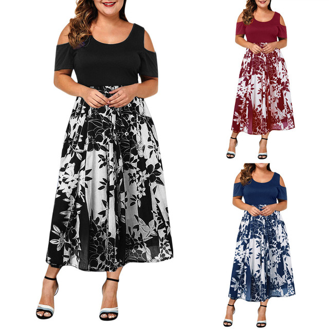 Casual Plus Size O-Neck Print Stitching Off-Shoulder Dress 4