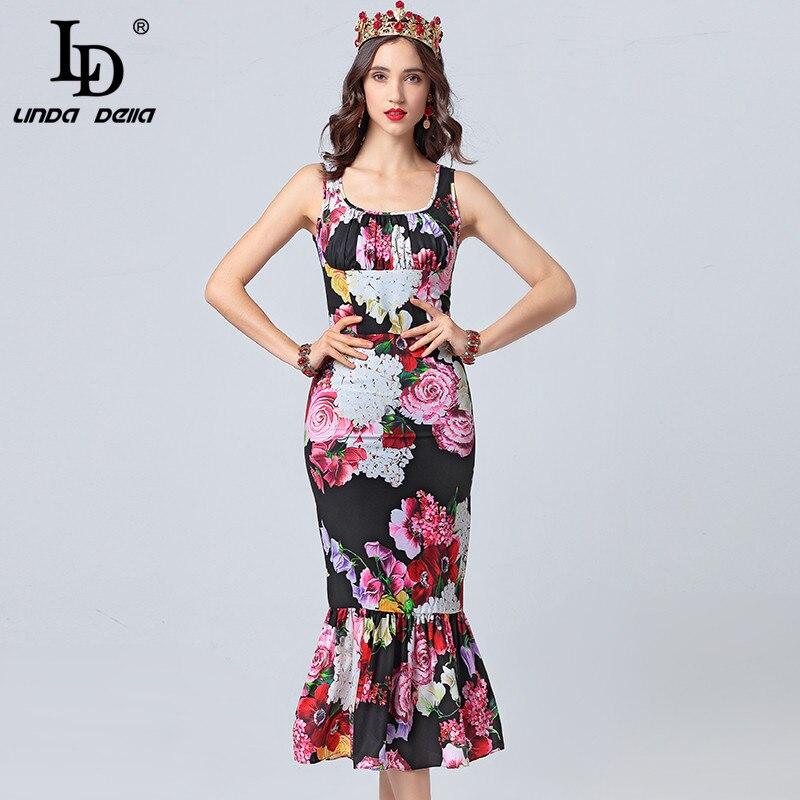 LD LINDA DELLA Piste Robe D'été de Femmes Col V Imprimé Floral Ruches Moulante Sirène Parti Robes Sexy Élégant Gaine robe